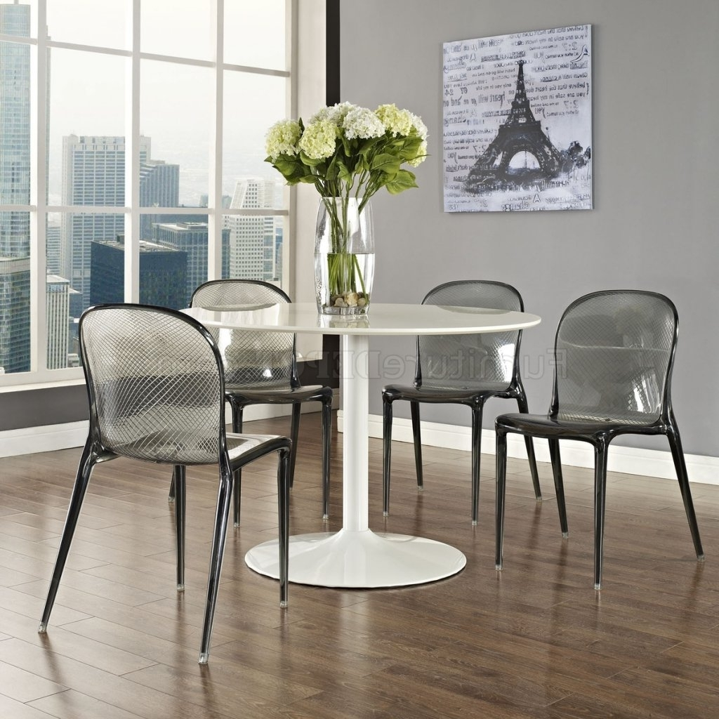 Popular Clear Plastic Dining Tables In Scape Dining Chair Set Of 4 In Clear Acrylicmodway (View 21 of 25)