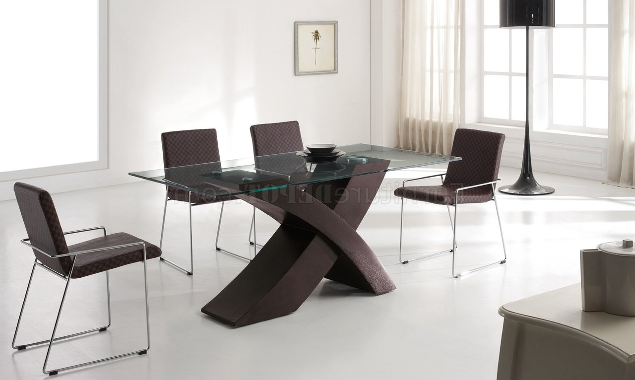 Popular Contemporary Base Dining Tables For Wenge Finish Base & Glass Top Modern Dining Table W/options (View 22 of 25)