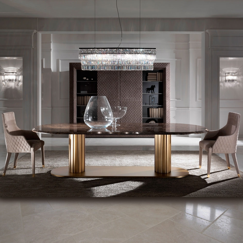 Popular Contemporary Italian Large Oval Marble Dining Table (Gallery 7 of 25)