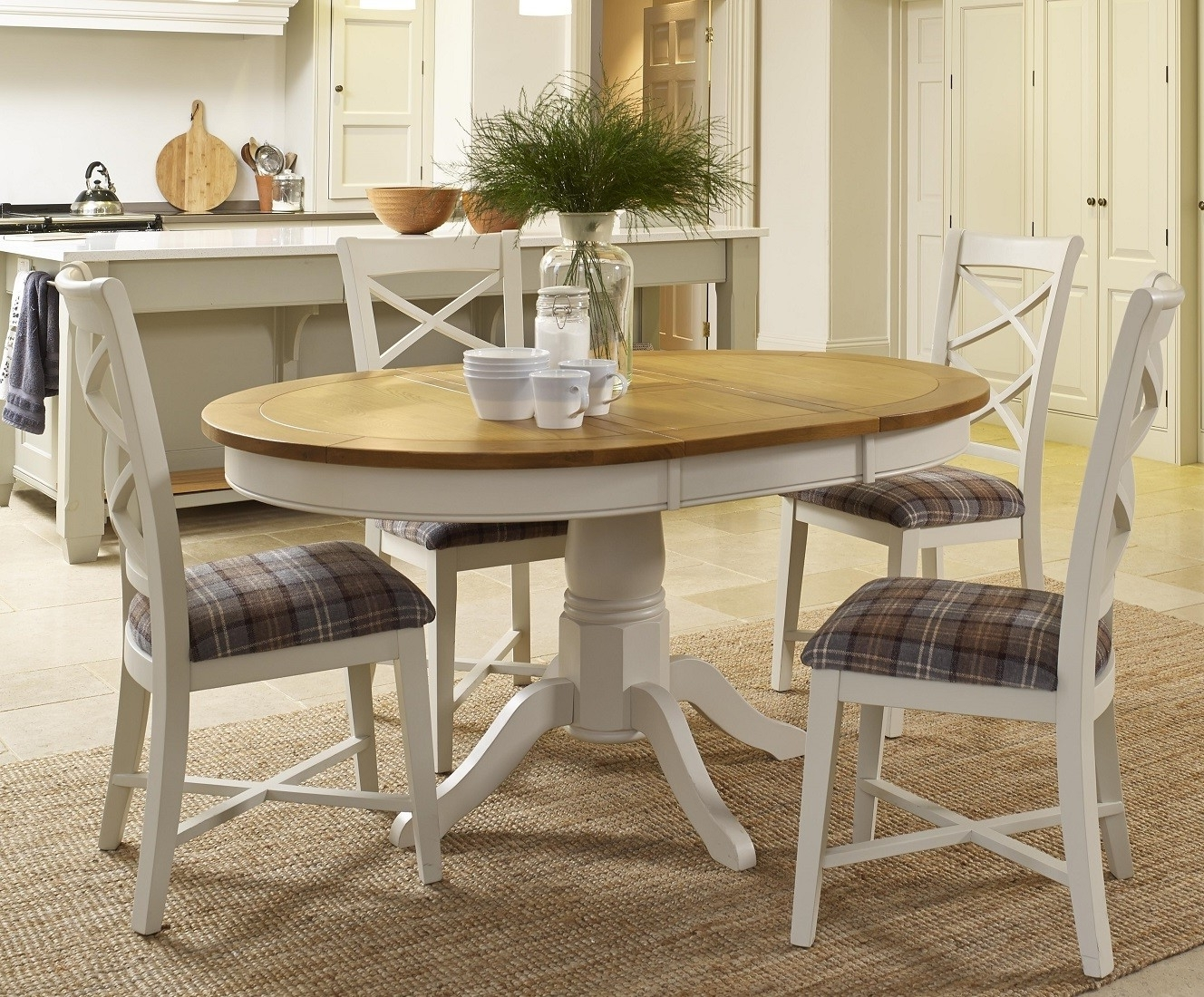 Popular Cottage Oak And Painted Round Extending Dining Table (View 25 of 25)