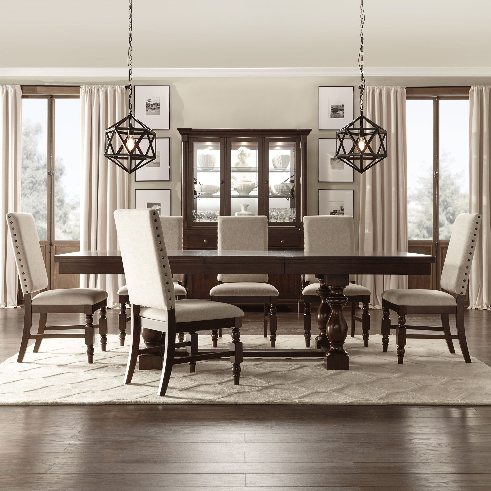 Popular Craftsman 9 Piece Extension Dining Sets With Uph Side Chairs In Tribecca Home Flatiron Baluster Extending Dining Set (5 Piece Set (Gallery 9 of 25)