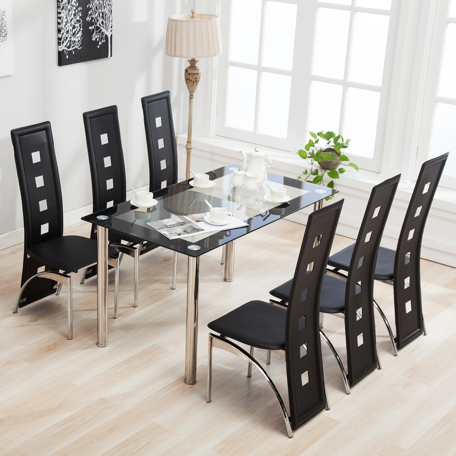 Popular Dining Room Glass Tables Sets Throughout Mecor 7Pcs Dining Table Set 6 Chairs Glass Metal Kitchen Room (View 17 of 25)