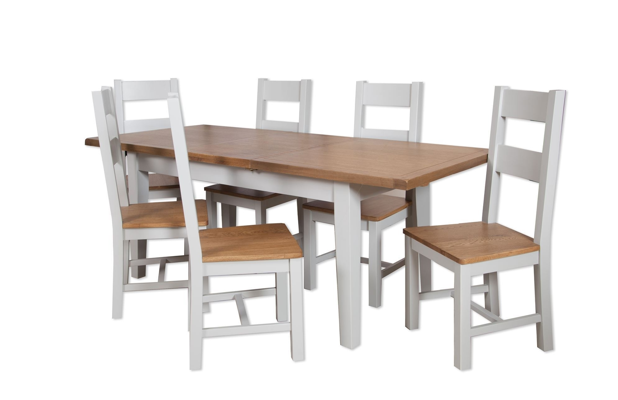 Popular Dining Tables And Six Chairs For French Grey 1.2M Ext Dining Table And Six Chairs – Cambridge Home (Gallery 7 of 25)