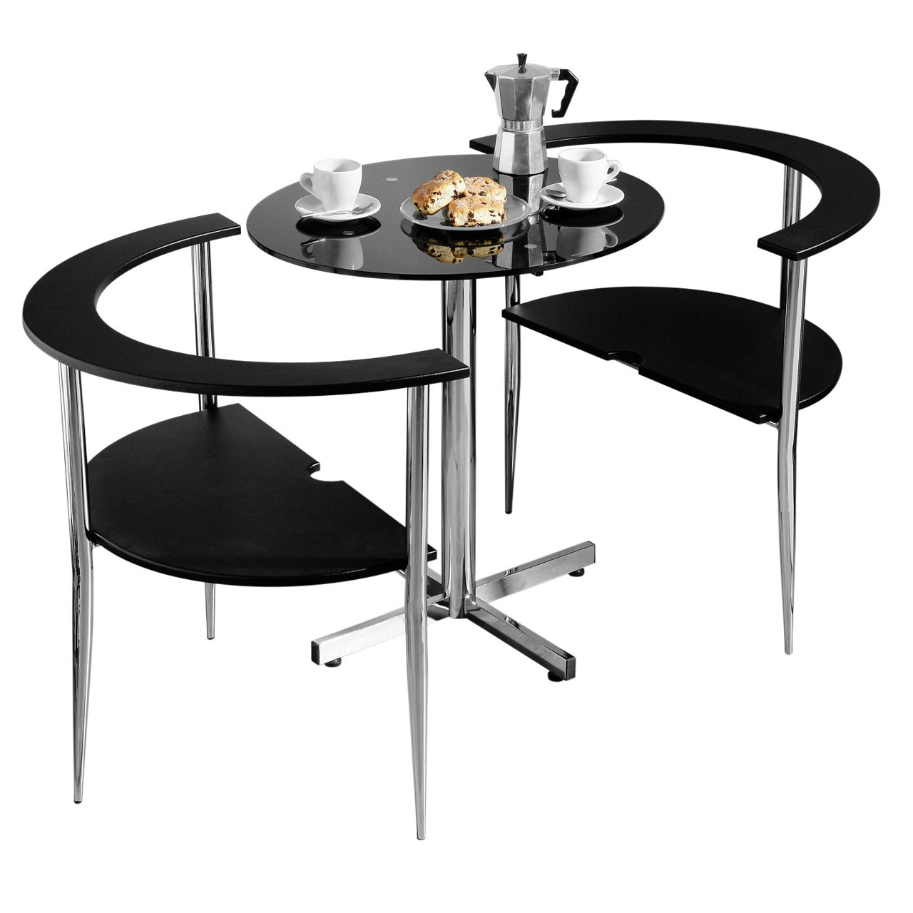 Popular Dining Tables For Two For 3Pc Round Love Dining Set Black Tempered Glass Table Top 2 Chairs (Gallery 5 of 25)