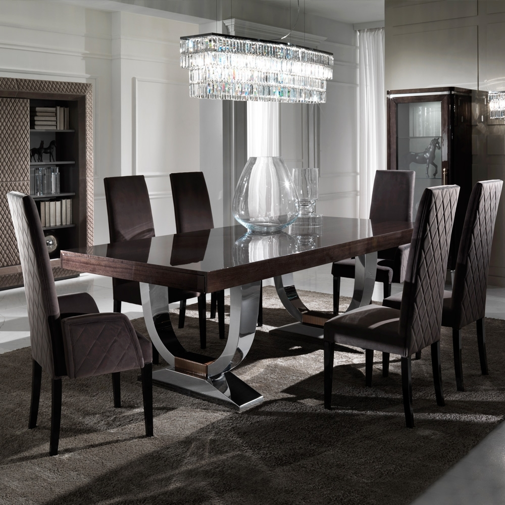 Popular Dining Tables Sets Regarding Large Modern Italian Veneered Extendable Dining Table Set (View 22 of 25)