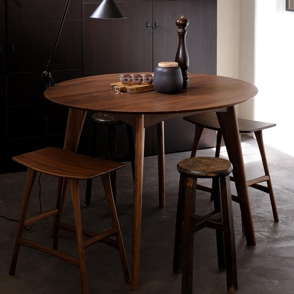 Popular Ethnicraft Walnut Osso Round Dining Table – Counter Height For Walnut Dining Tables (Gallery 25 of 25)