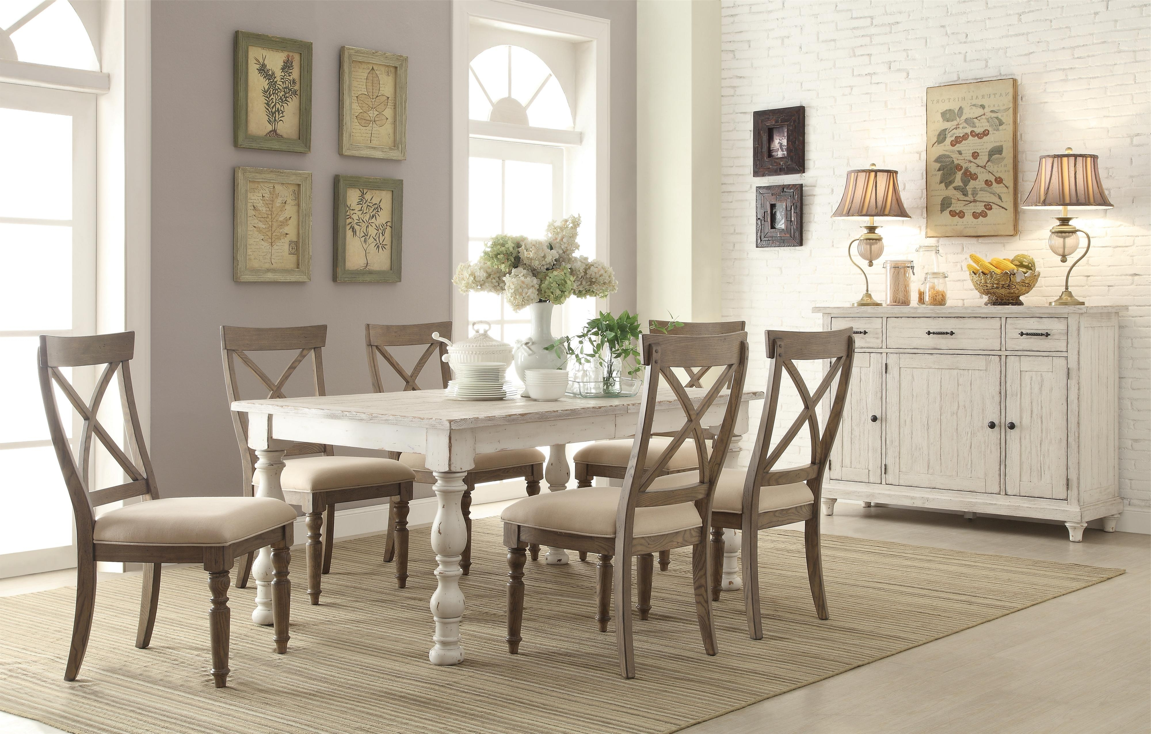 Popular Extendable Round Dining Tables Sets Throughout Riverside Furniture Aberdeen Rectangular Farmhouse Expandable Dining (View 20 of 25)