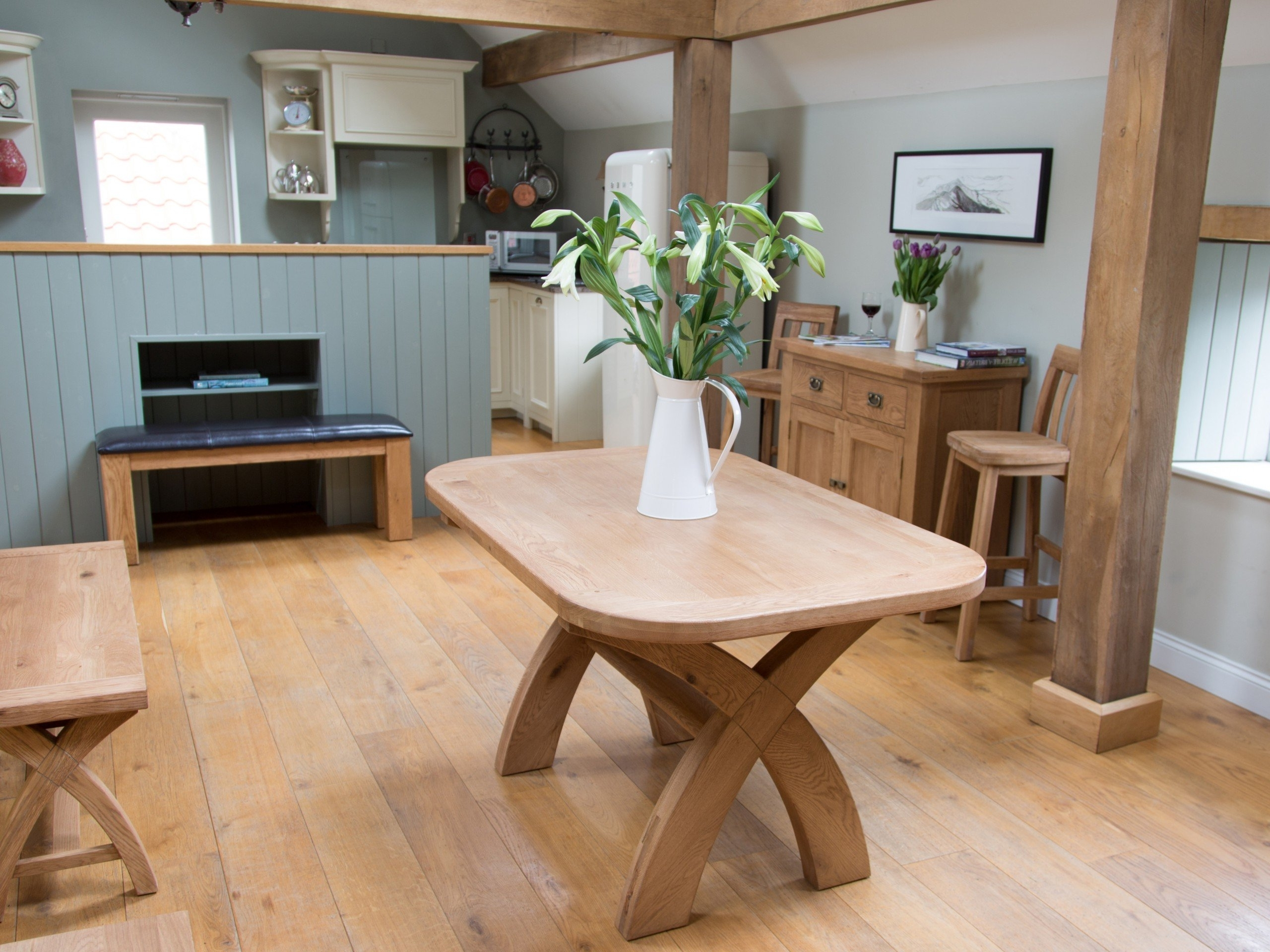 Popular Extending Solid Oak Dining Tables Intended For Cross Leg Kitchen Table (View 19 of 25)