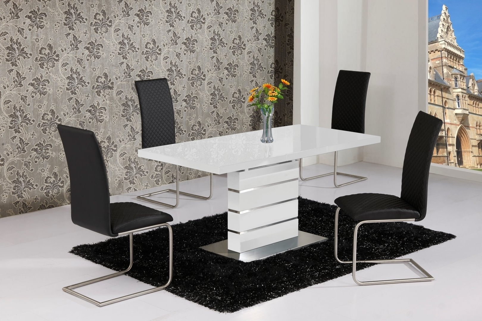 Popular Extending White High Gloss Dining Table And 4 Black Chairs Set (Gallery 3 of 25)