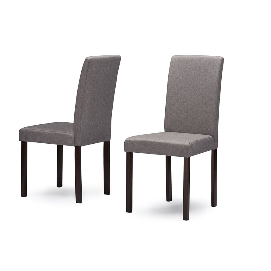 Popular Fabric Covered Dining Chairs Throughout Gray Fabric Dining Chair Pair – Andrew (View 13 of 25)