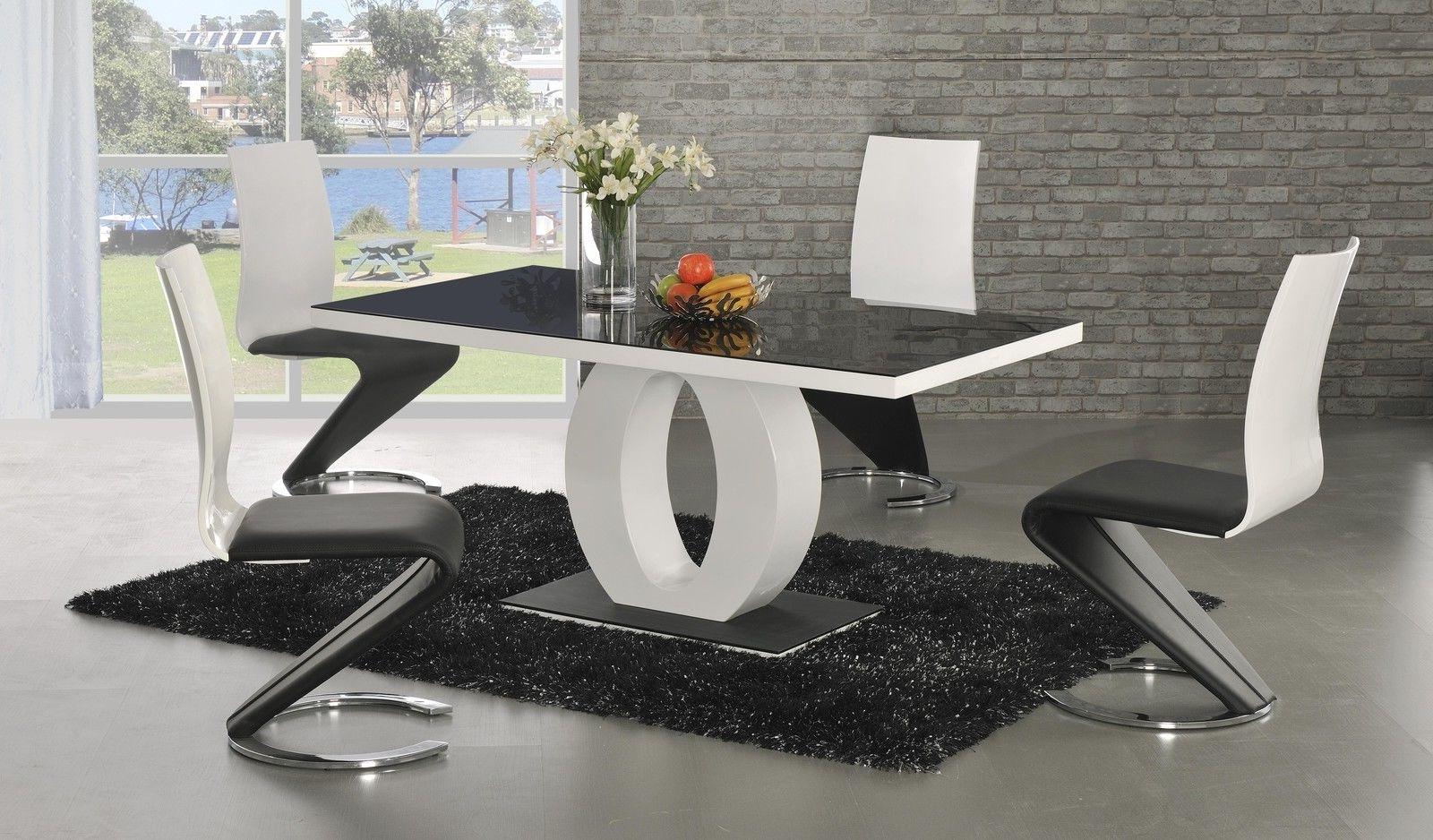 Popular Ga Angel Black Glass White Gloss 160 Cm Designer Dining Set 4 6 Z Regarding High Gloss White Dining Tables And Chairs (Gallery 4 of 25)