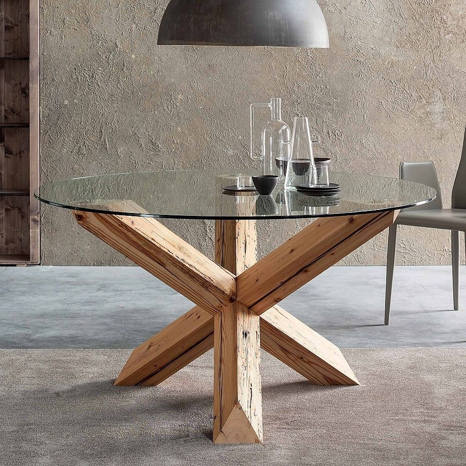 Popular Glass Dining Tables With Oak Legs Throughout Greyson Outdoor Small Tempered Clear Side End Patio Chevy Retro Wood (View 18 of 25)