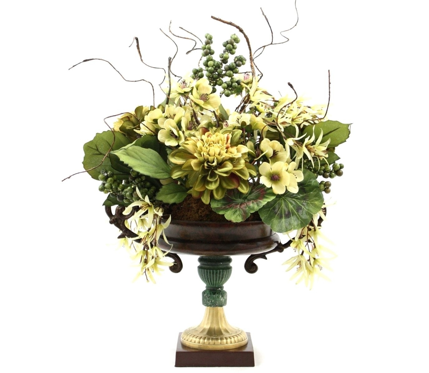 Popular Hand Made Dining Table Centerpiece Silk Flower Arrangement, Home Pertaining To Artificial Floral Arrangements For Dining Tables (View 6 of 25)