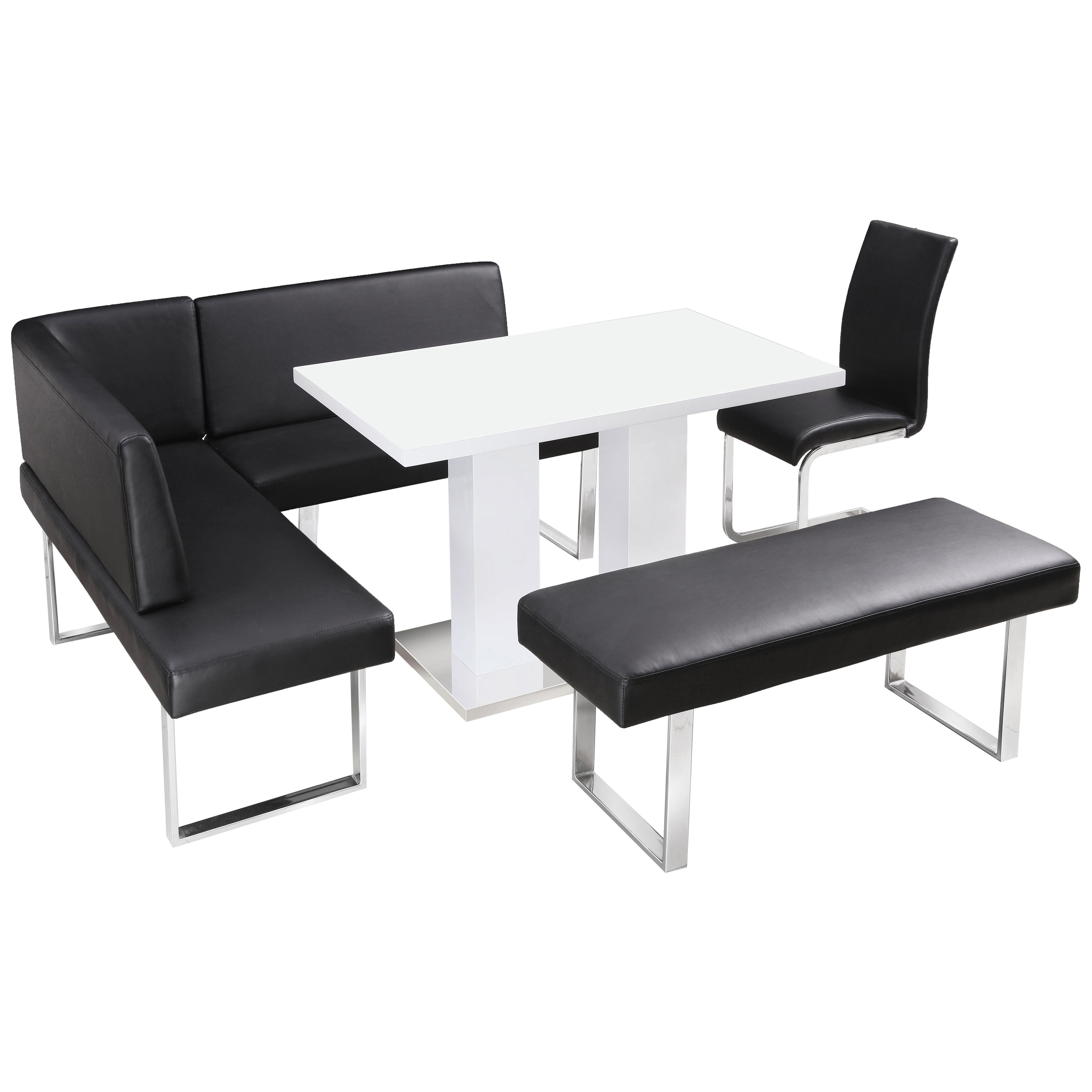 Popular High Gloss Dining Table And Chair Set With Corner Bench & 1 Seat Intended For Black High Gloss Dining Chairs (Gallery 15 of 25)