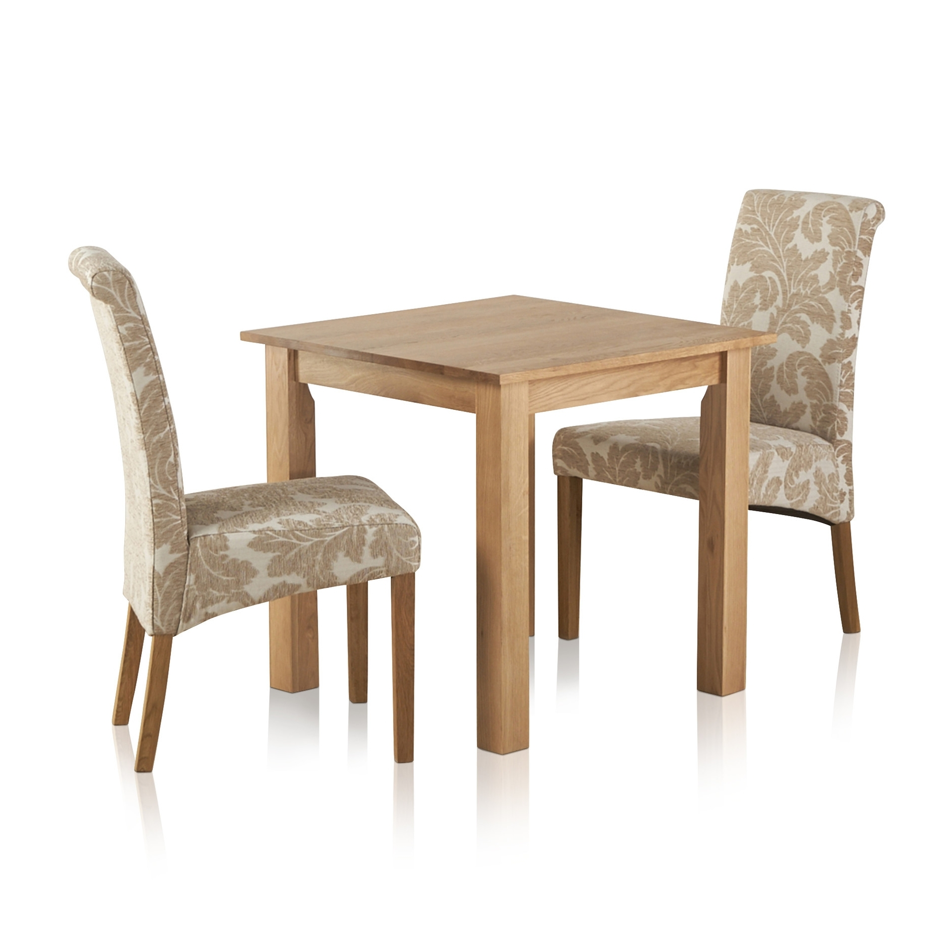 Popular Hudson Dining Set In Solid Oak: Table + 2 Patterned Beige Chairs Within Hudson Dining Tables And Chairs (View 20 of 25)