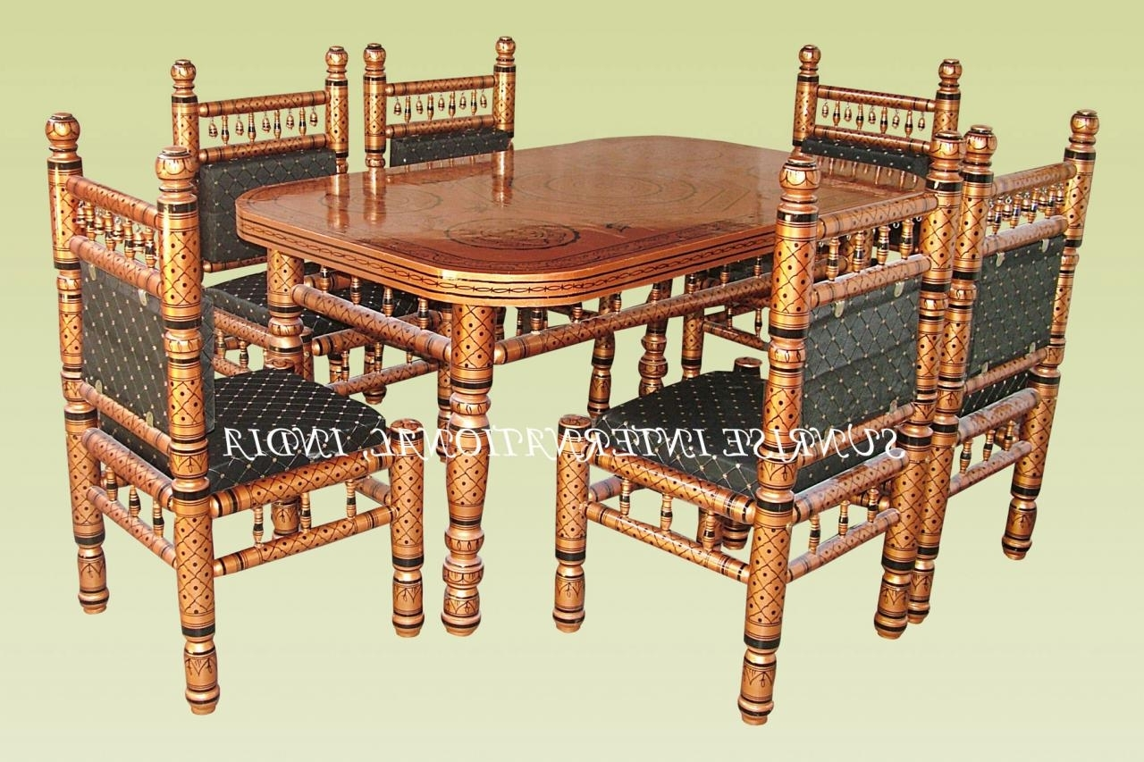 Popular Indian Dining Tables And Chairs For Sunrise International – Wooden Dining Sets (View 20 of 25)