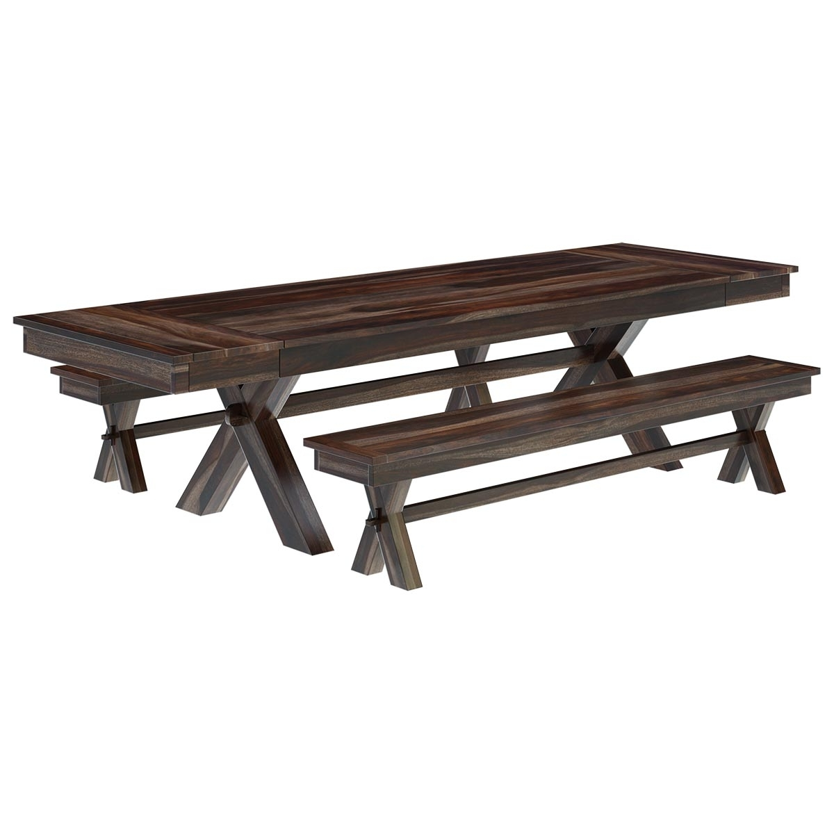 Popular Indoor Picnic Style Dining Tables In Westside Indoor Picnic Style Extendable Dining Table Bench Set (View 13 of 25)