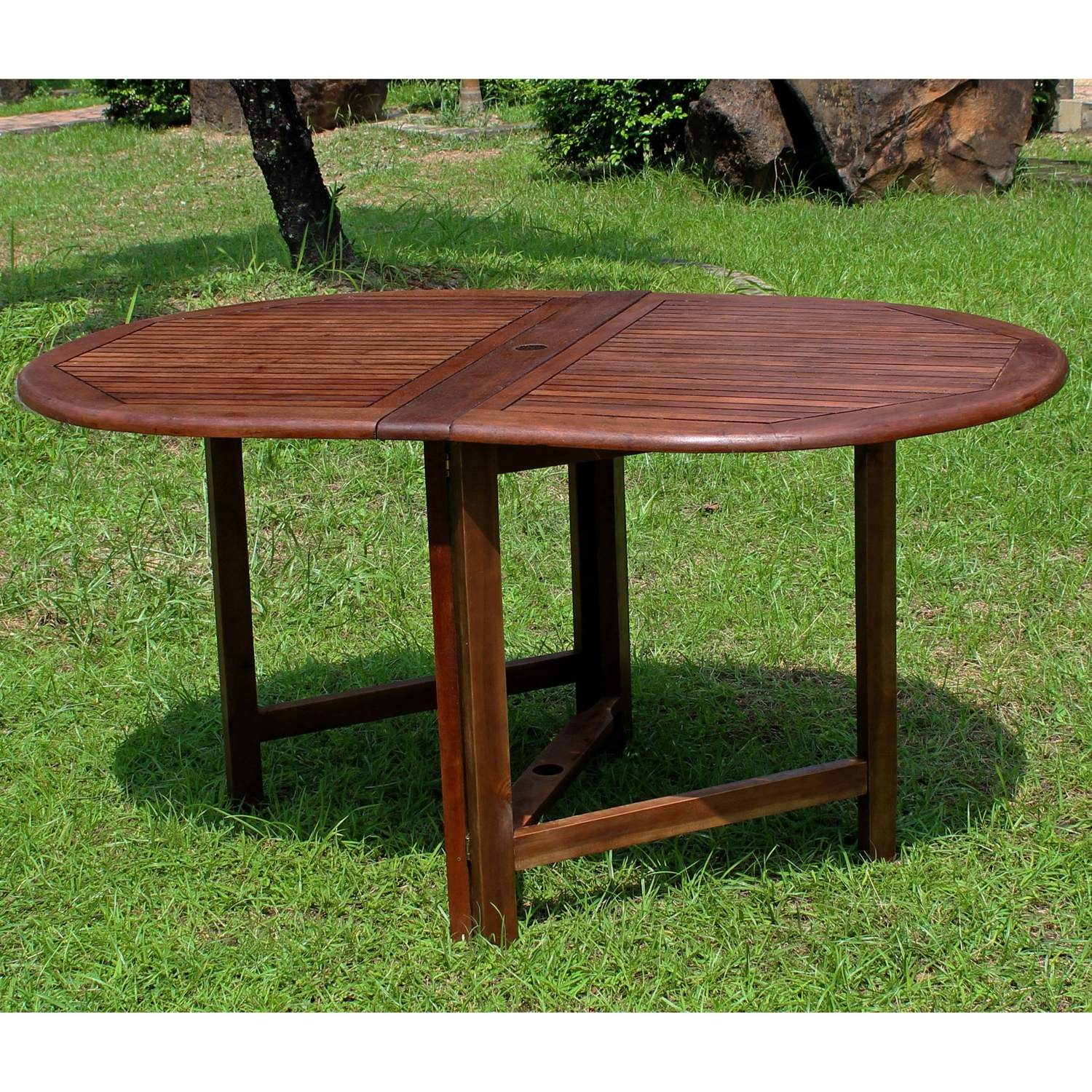 Popular International Caravan Highland Acacia Miami Oval Gate Leg Folding Throughout Oval Folding Dining Tables (Gallery 20 of 25)