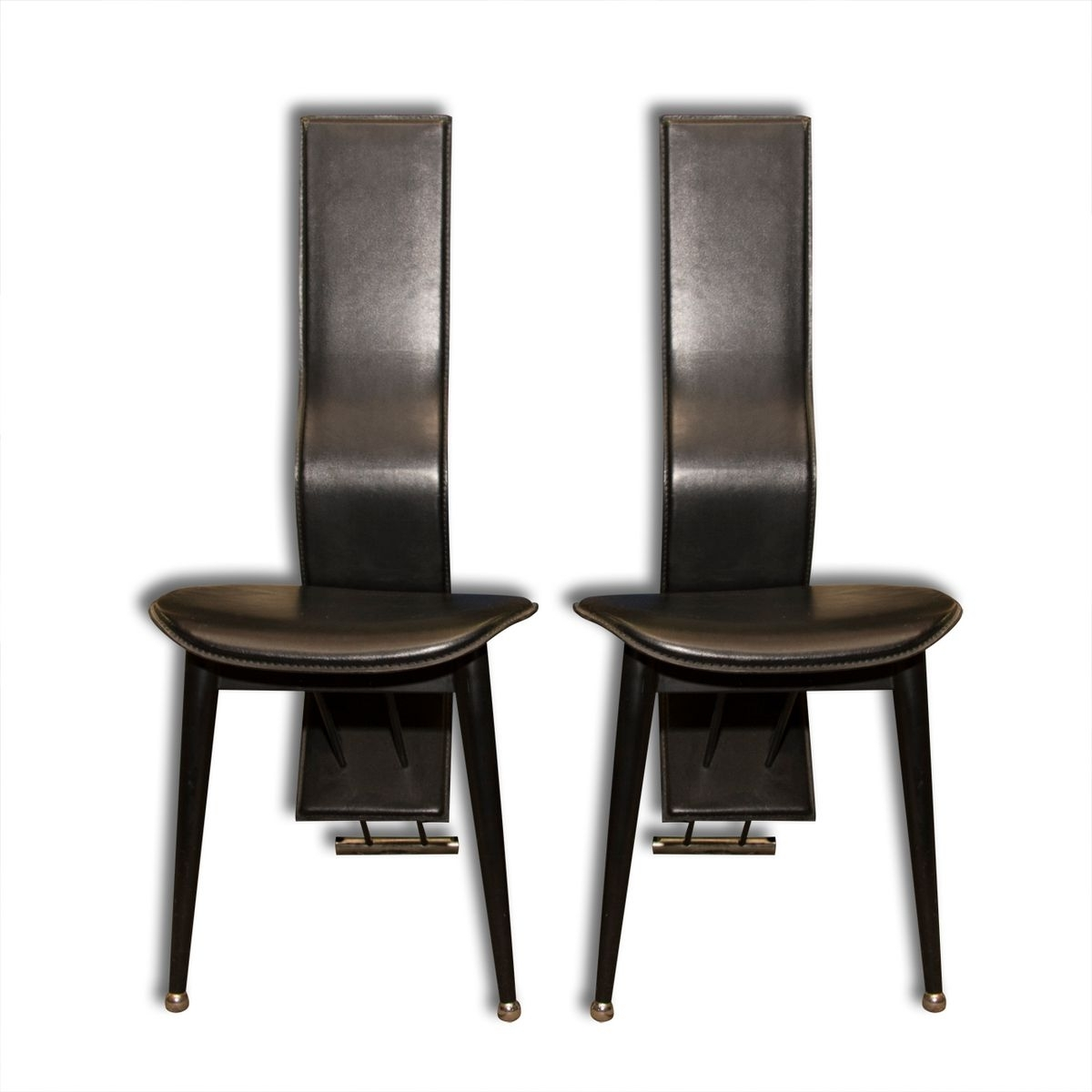 Popular Italian Vintage High Back Leather Dining Chairs, 1980S, Set Of 2 For Inside High Back Leather Dining Chairs (View 15 of 25)