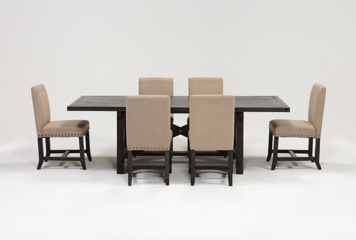 Popular Jaxon 7 Piece Rectangle Dining Sets With Wood Chairs Inside Kit Jaxon 7 Piece Rectangle Dining Set W/upholstered Chairs (View 10 of 25)