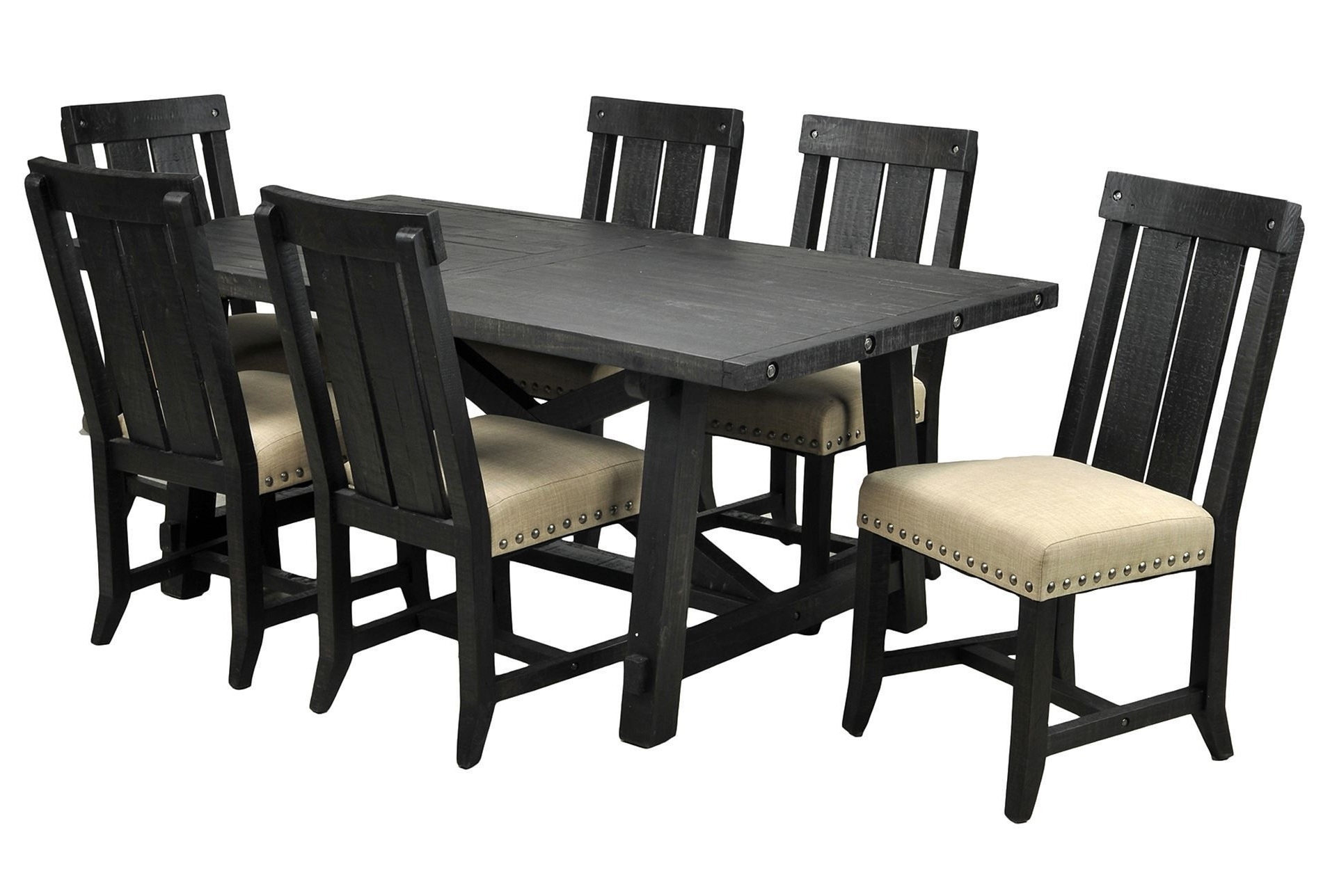 Popular Jaxon Grey 7 Piece Rectangle Extension Dining Sets With Uph Chairs With Jaxon 7 Piece Rectangle Dining Set W/wood Chairs (View 6 of 25)