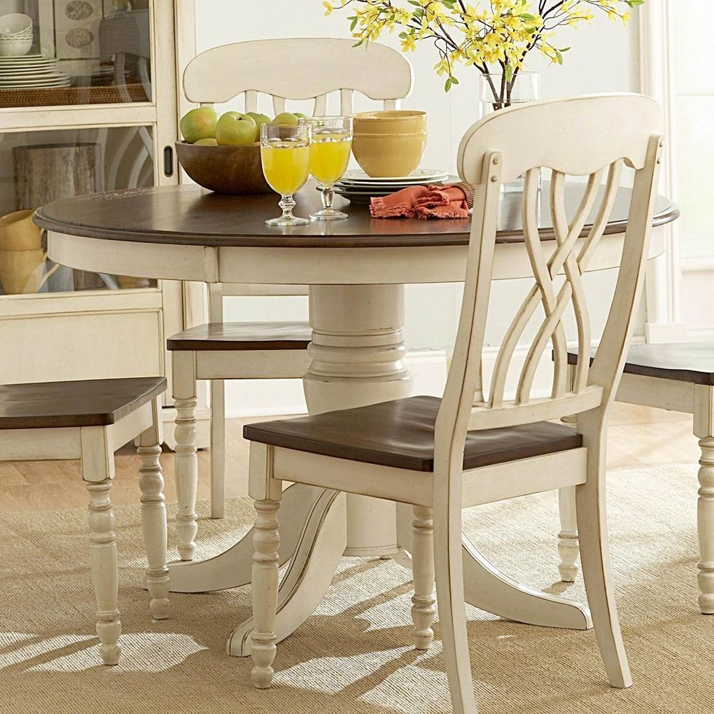 Popular Kitchen Dining Sets Regarding Ohana White Round Dining Table Casual Kitchen Dining Tables, Kitchen (View 20 of 25)