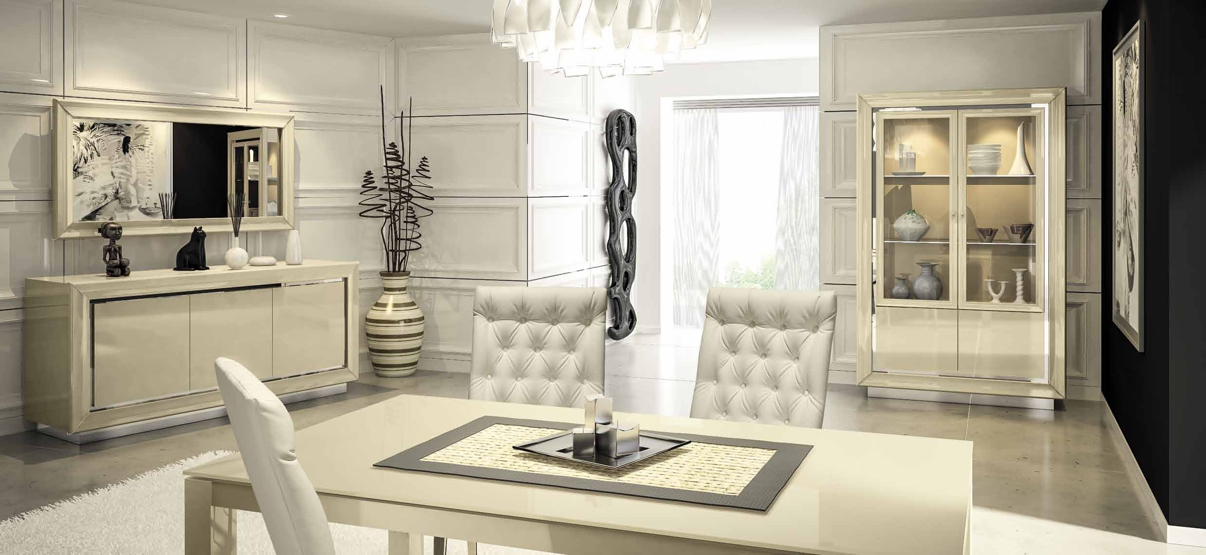 Popular La Star Contemporary & Modern Italian Furniture In High Gloss Black Inside Cream Gloss Dining Tables And Chairs (View 14 of 25)