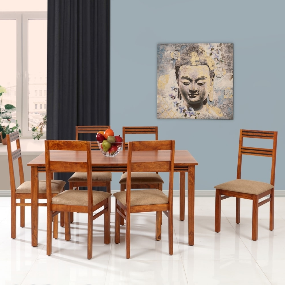 Popular Logan 6 Piece Dining Sets Throughout Six Seater, Logan Solidwood Dining Set 1+6 Walnut (View 19 of 25)