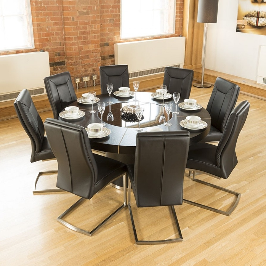 Popular Luxury Large Round Black Oak Dining Table 8 Amazing Thick Back Pertaining To Dining Tables For  (View 21 of 25)