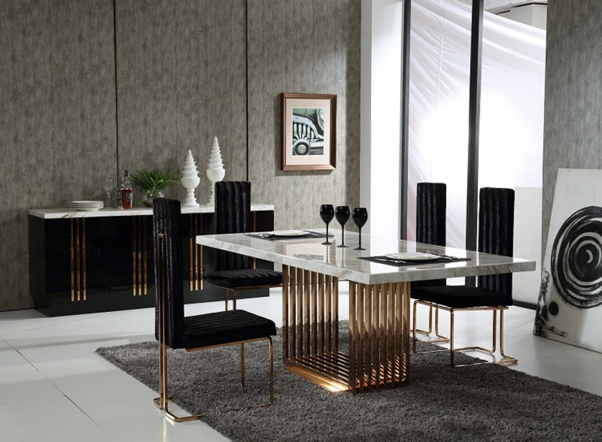Popular Marble & Rosegold Dining Set – Shop For Affordable Home Furniture Inside Extending Marble Dining Tables (View 21 of 25)