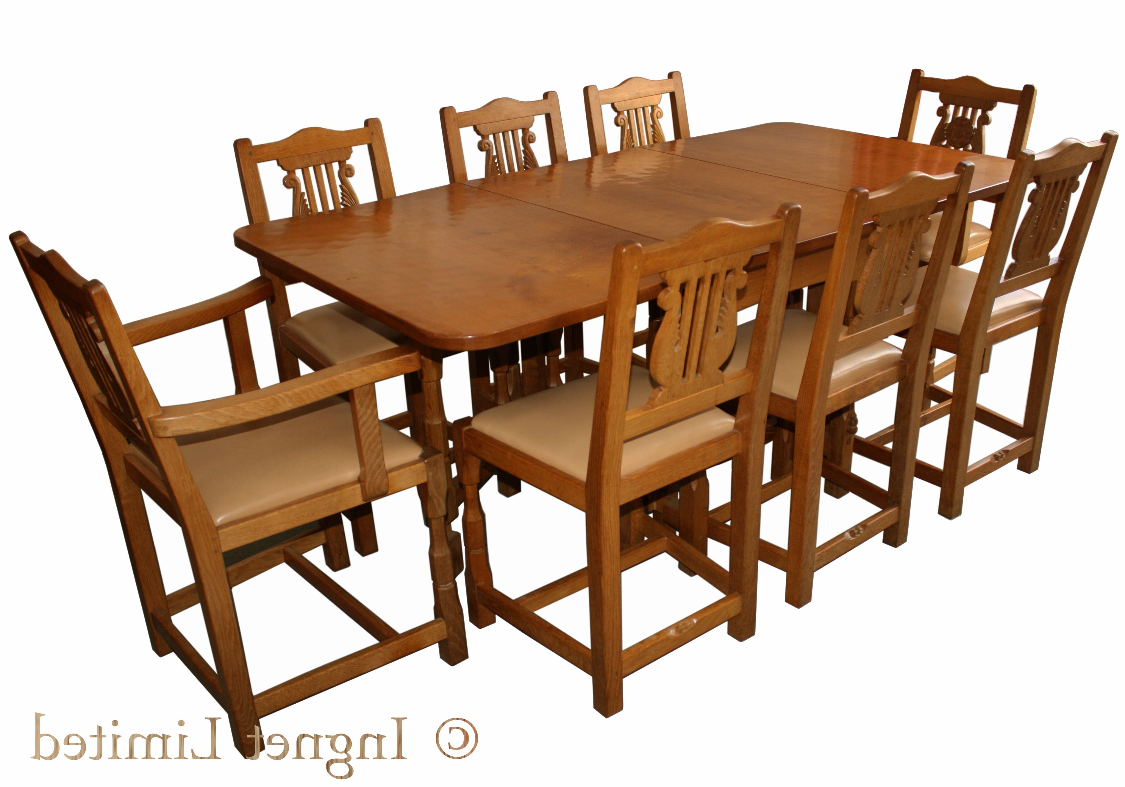 Popular Oak Dining Suite With Colin Beaverman Almack Adzed Oak Dining Table With 8 Chairs – Ingnet (View 24 of 25)