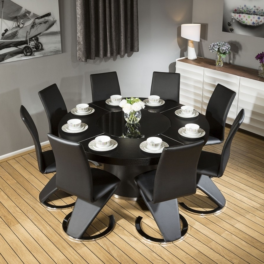 Popular Oak Dining Tables 8 Chairs In Modern Large Round Black Oak Dining Table +8 Black Z Shape Chairs (View 10 of 25)