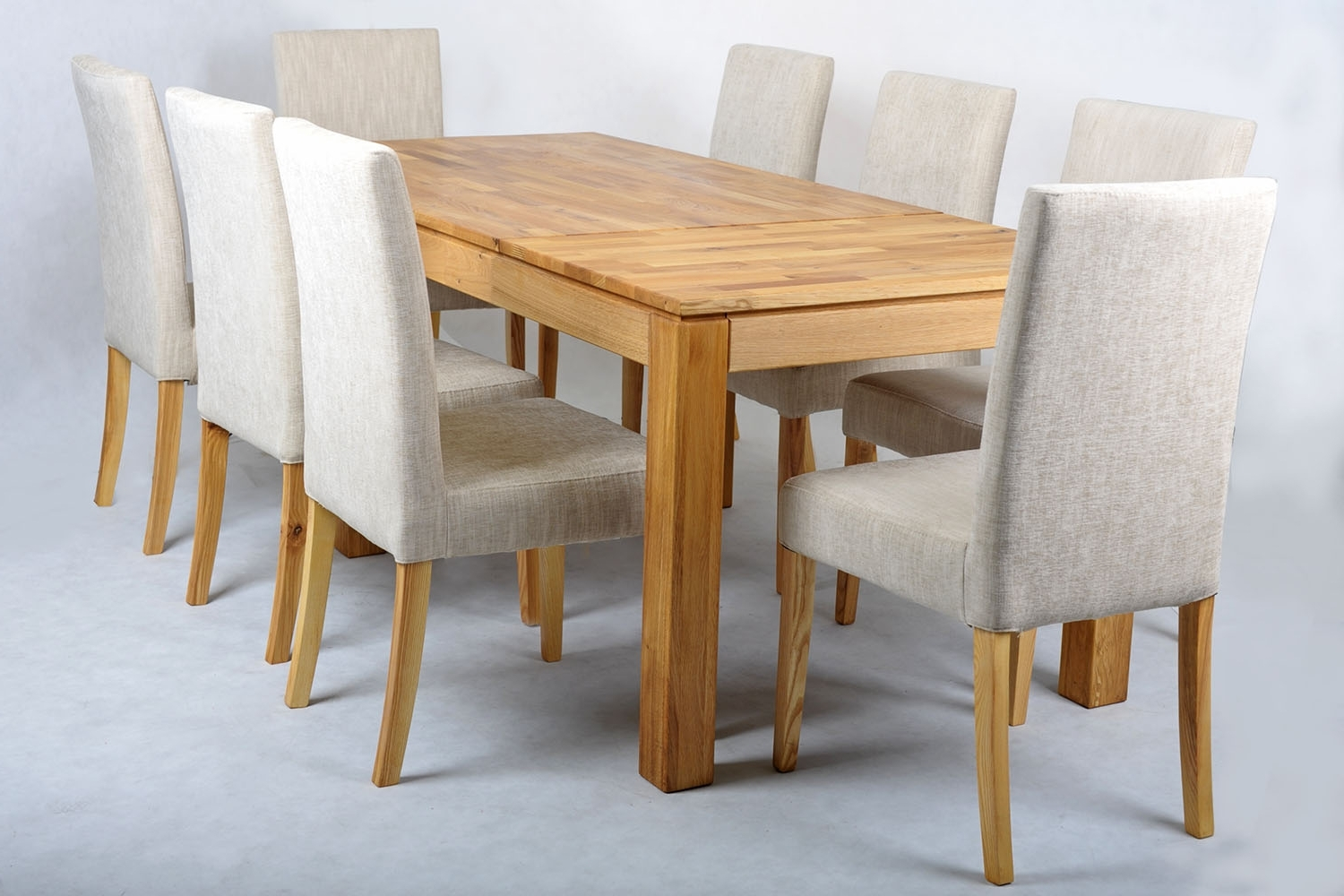 Popular Oak Dining Tables And Fabric Chairs Within Oak Extending Dining Table And Fabric Chairs Set Ivory Stainless (Gallery 6 of 25)