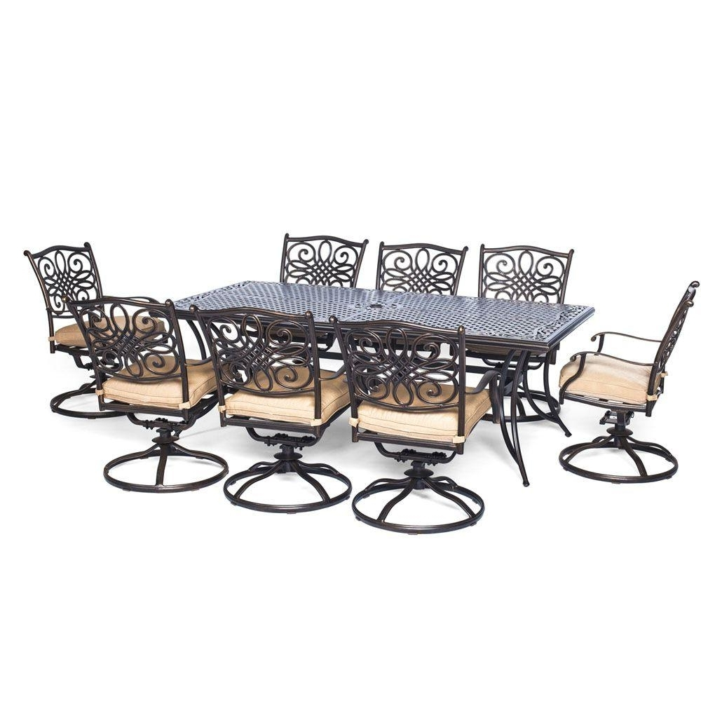 Popular Outdoor Dining Table And Chairs Sets For Hanover Traditions 9 Piece Aluminum Rectangular Patio Outdoor Dining (View 2 of 25)