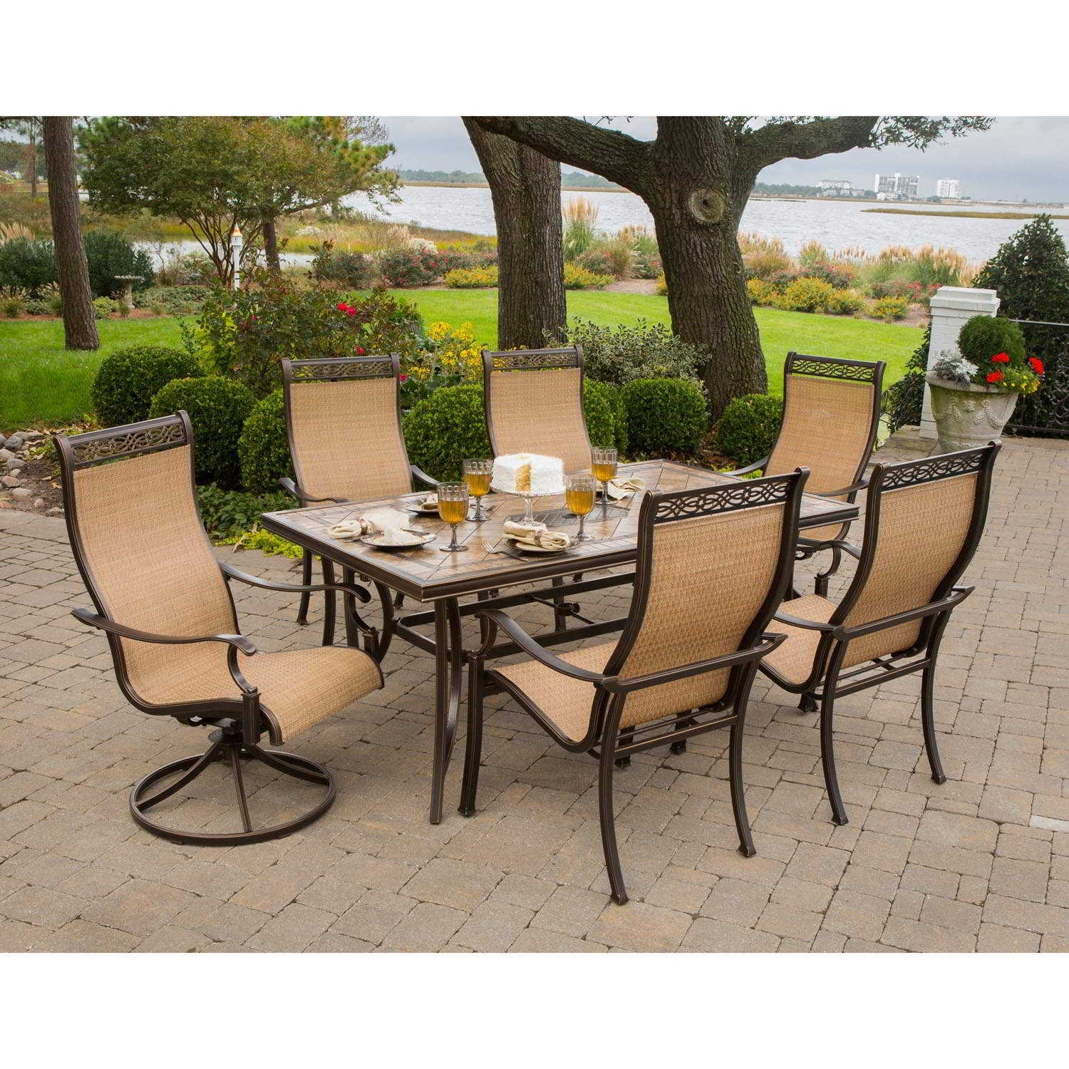 Popular Outdoor Patio Dining Furniture Monaco 7 Piece Dining Set Intended For Monaco Dining Sets (View 23 of 25)