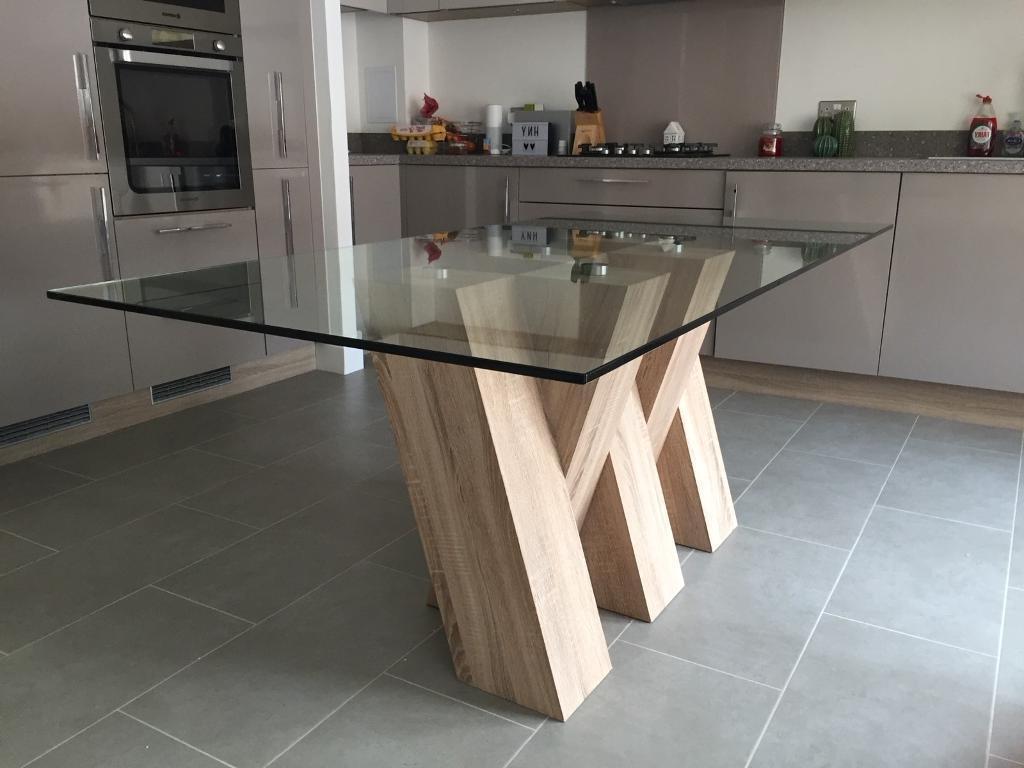 Popular Piston Light Oak Glass Dining Table – Harveys (Gallery 19 of 25)