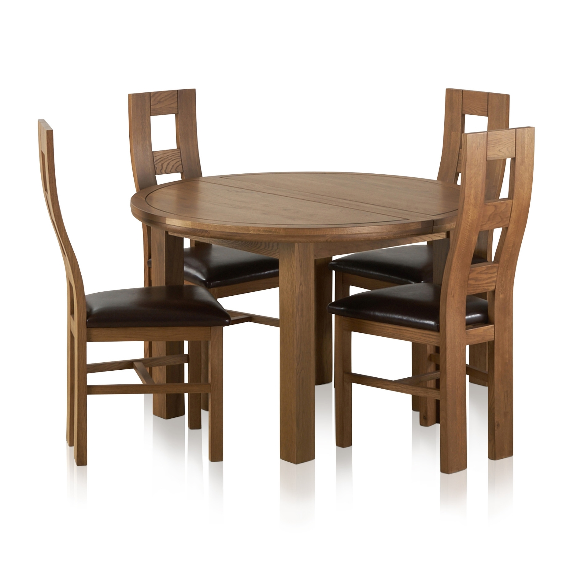 Popular Round Extending Oak Dining Tables And Chairs Intended For Knightsbridge Round Extending Dining Table + 4 Leather Chairs (View 16 of 25)