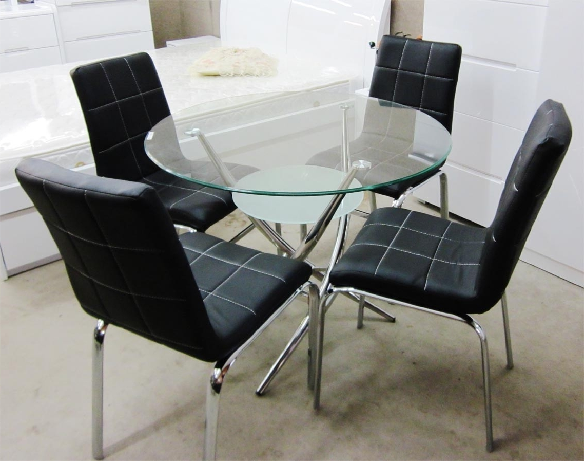 Popular Round Glass Dining 5 Pieces Set With 4 Pu Leather Chairs Pertaining To Cheap Round Dining Tables (View 2 of 25)