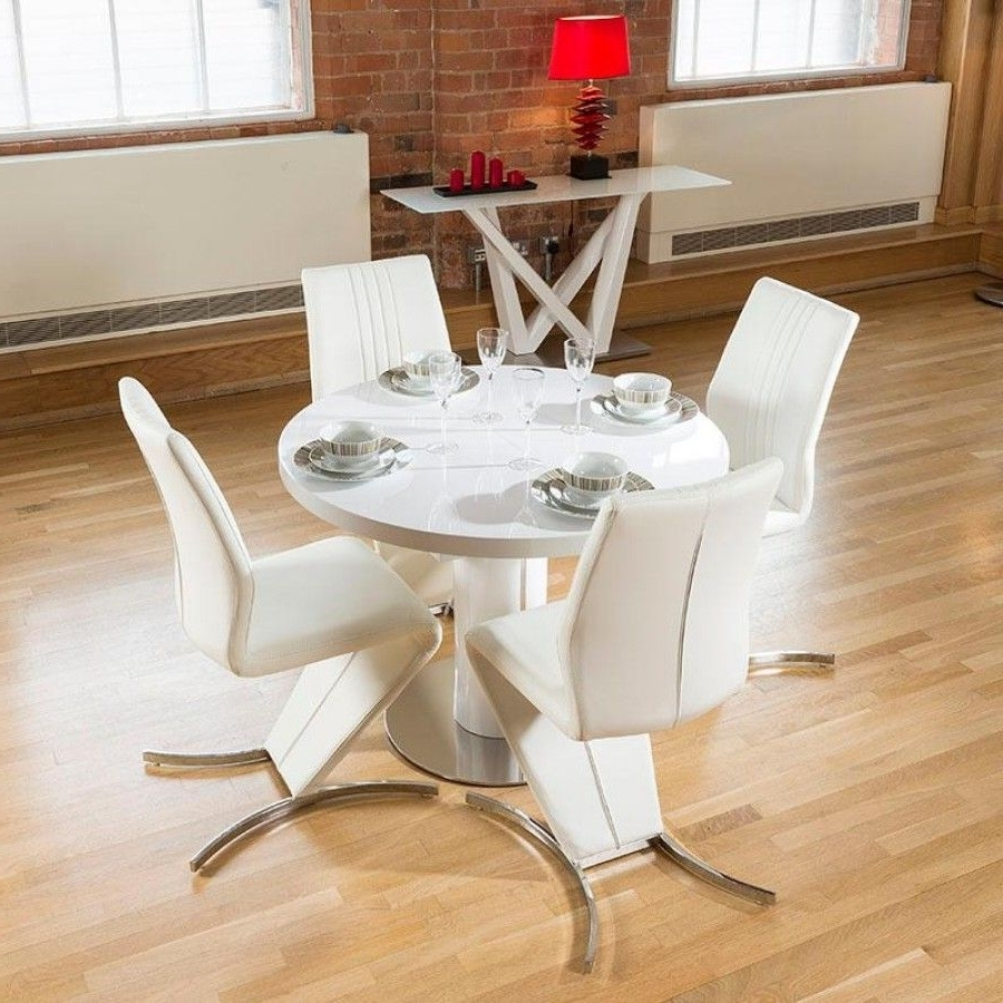 Popular Round High Gloss Dining Tables Intended For Dining Set White Gloss Round 1.05 1.35 Extending Table +4 Z Chair (Gallery 18 of 25)