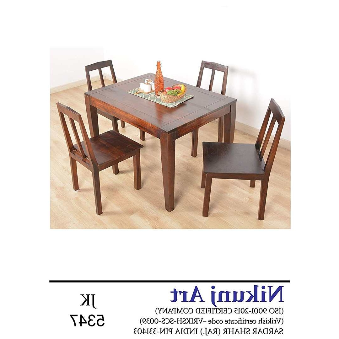 Popular Scs Dining Furniture Pertaining To Nikunj Sheesham Wood Four Seater Dining Table Set For Home Living (View 25 of 25)