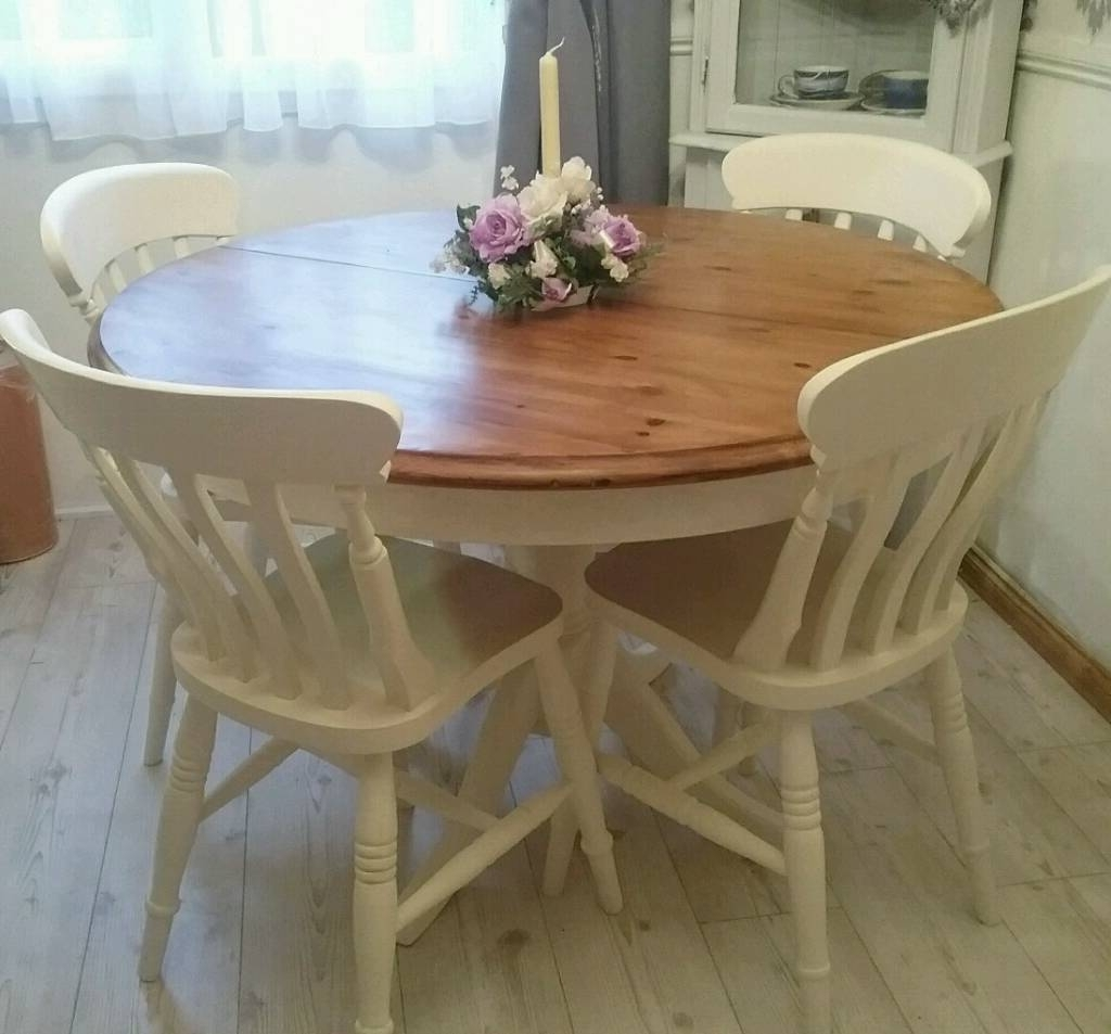 Popular Shabby Chic Round Extending Dining Table – Round Table Ideas With Shabby Chic Extendable Dining Tables (View 7 of 25)