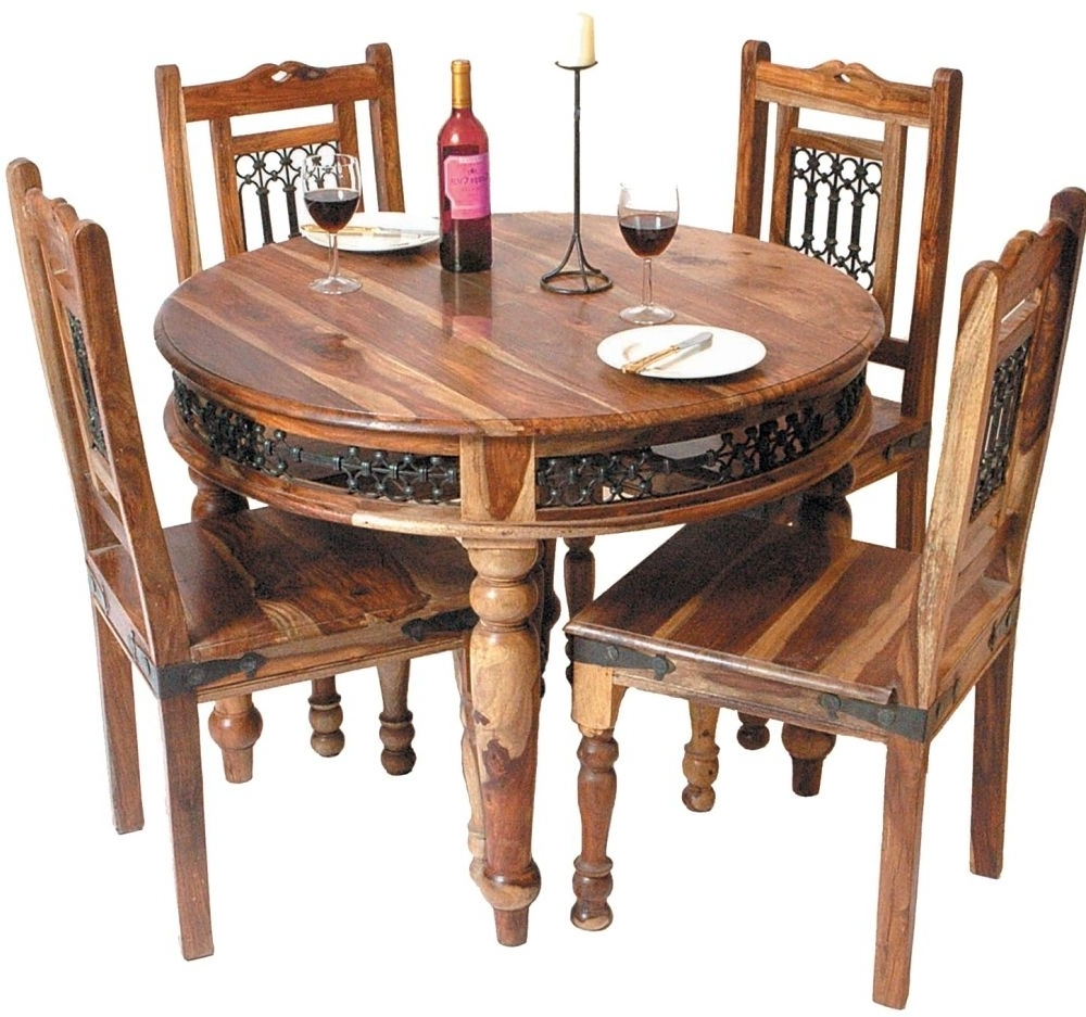 Popular Sheesham Dining Tables And 4 Chairs Throughout Buy Online Jaipur Sheesham Jali Round Dining Set With 4 Chairs 100Cm (View 8 of 25)