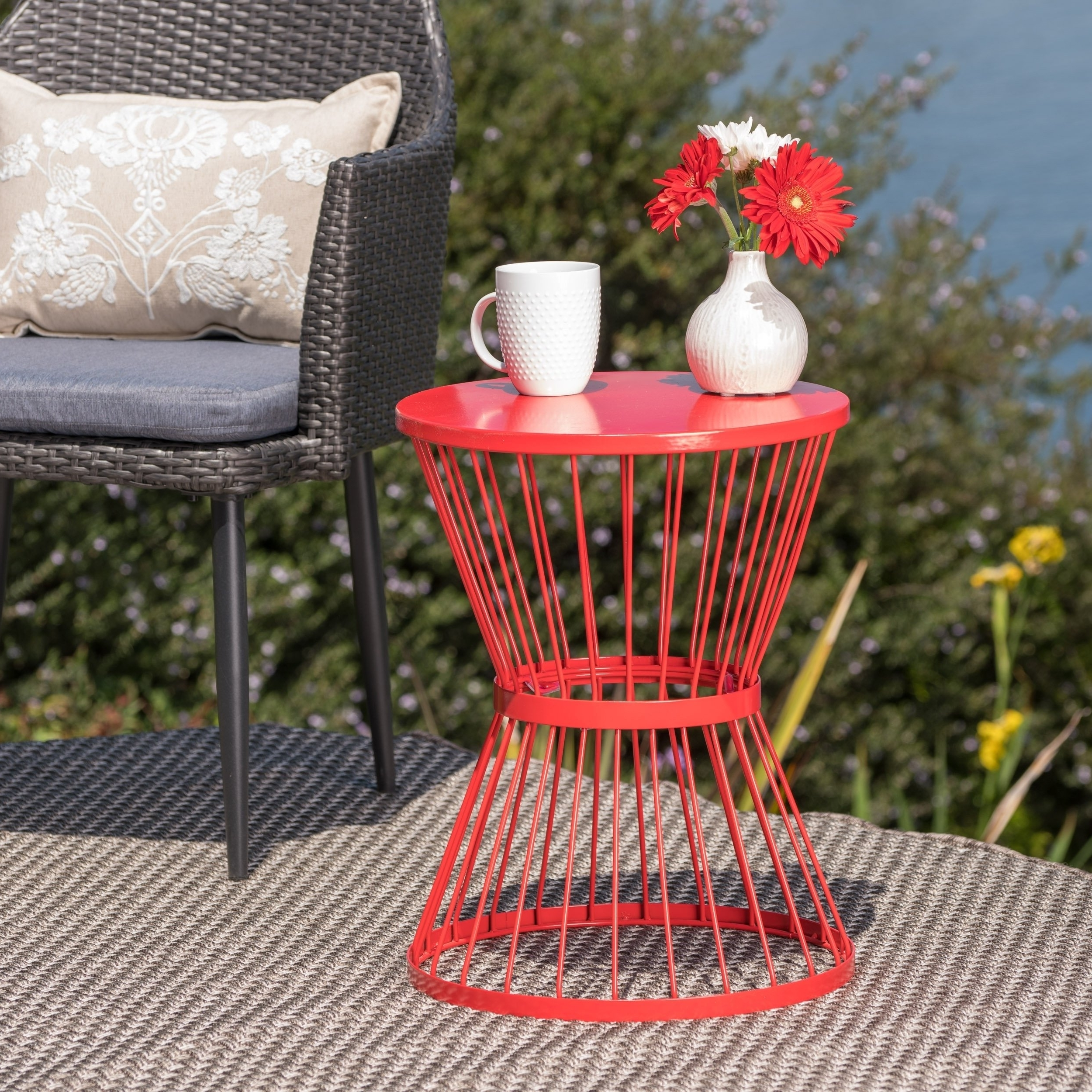 Popular Shop Lassen Outdoor 16 Inch Round Side Tablechristopher Knight Intended For Lassen 5 Piece Round Dining Sets (View 17 of 25)