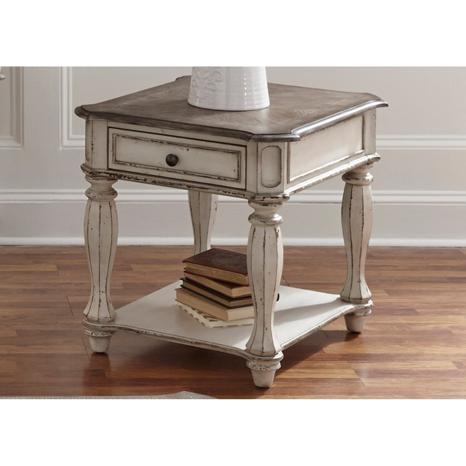 Popular Shop Magnolia Manor Antique White End Table – On Sale – Free Within Magnolia Home Top Tier Round Dining Tables (View 23 of 25)