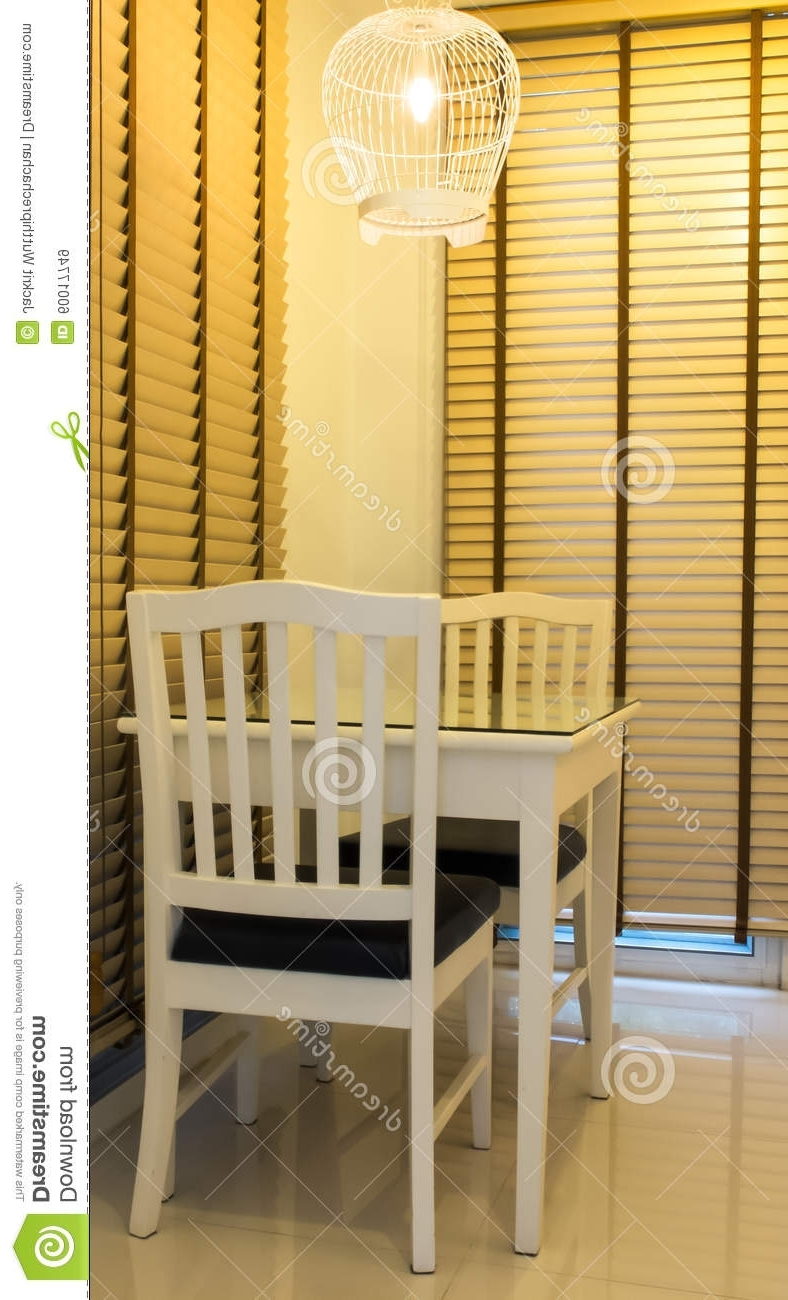 Popular Small Two Person Dining Tables Throughout Small Romantic Dining Table For Two Person Served Stock Image (View 18 of 25)