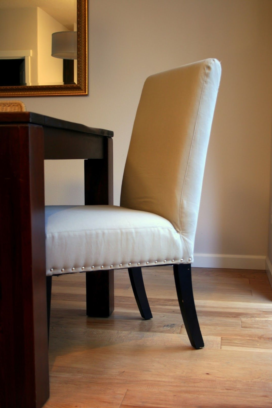 Popular So Proud Of My Little Upholstery Project. Nailhead Parsons Chairs Pertaining To Fabric Covered Dining Chairs (Gallery 16 of 25)