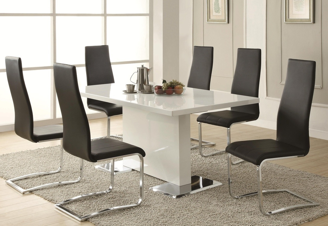 Popular Sobe White & Black Dining Table Set (View 1 of 25)