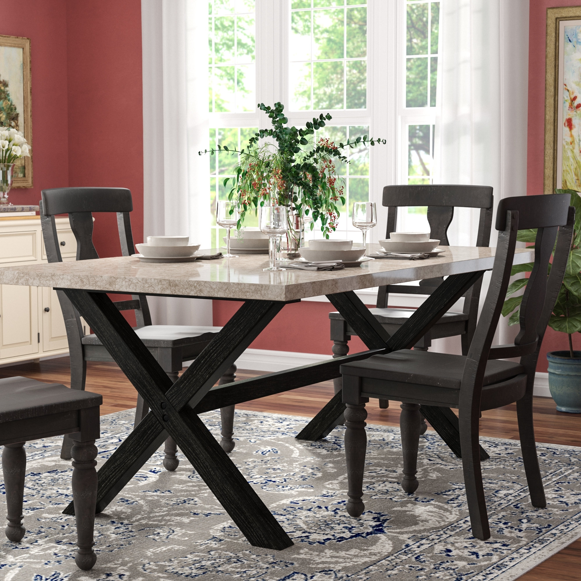 Popular Solid Marble Dining Tables In Red Barrel Studio Coleville Solid Marble Dining Table & Reviews (Gallery 3 of 25)