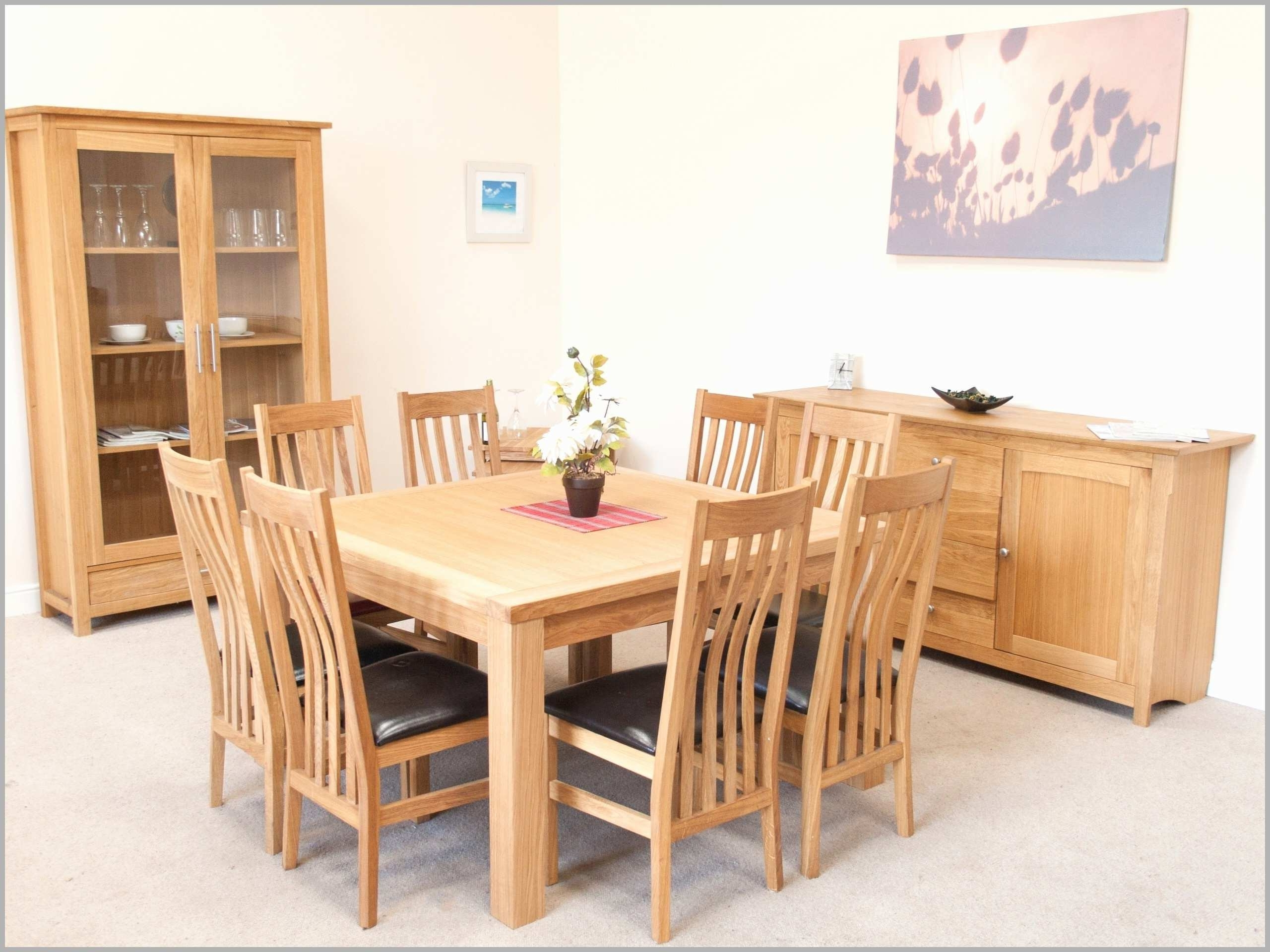 Popular Solid Oak Dining Room Table And 8 Chairs Elegant 8 Person Square Throughout Solid Oak Dining Tables And 8 Chairs (View 10 of 25)