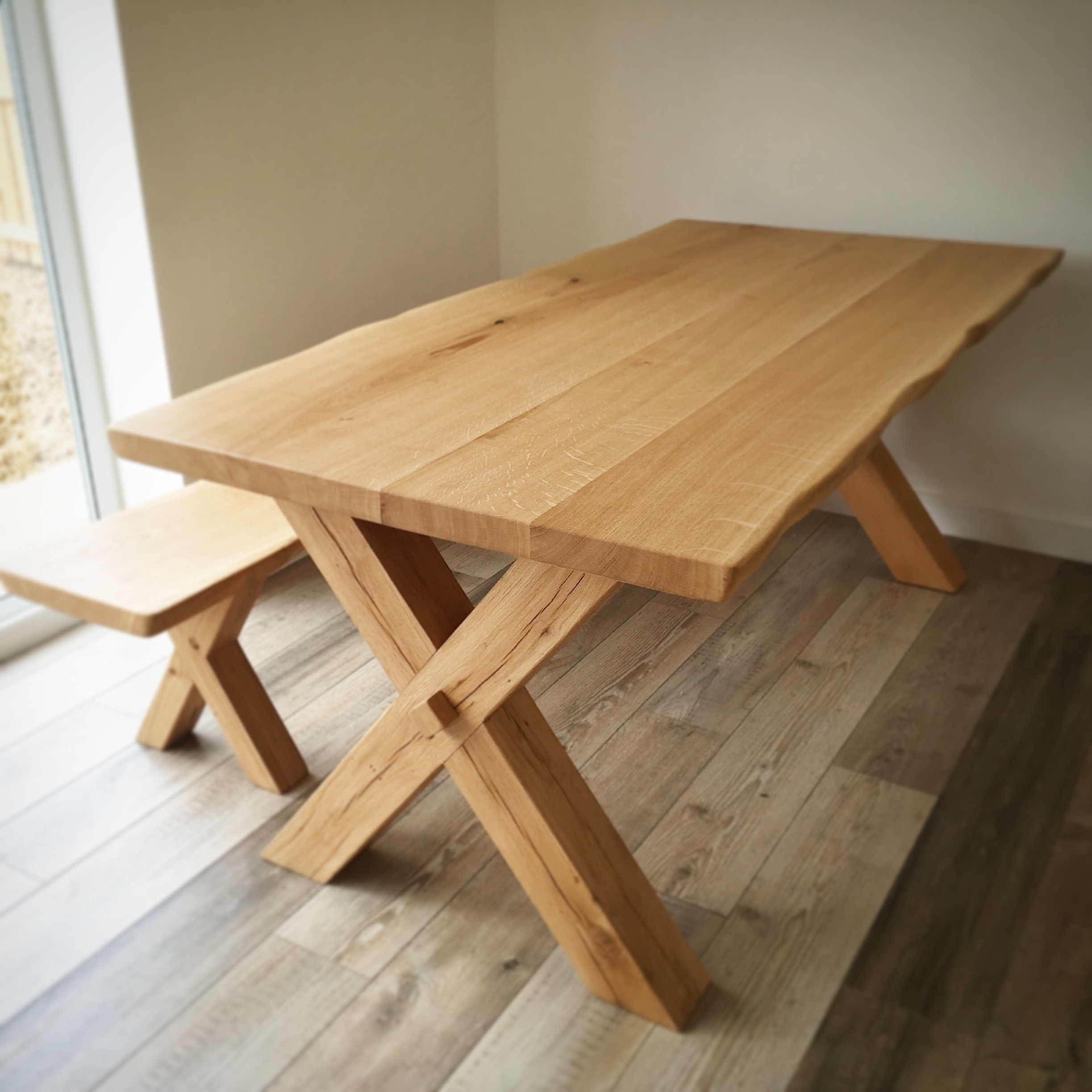Popular Solid Oak Dining Table – Cross Leg Design – Handmade In The Uk (View 9 of 25)